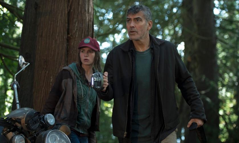 Disney's TOMORROWLAND L to R: Casey (Britt Robertson) and Frank (George Clooney) Ph: Kimberley French ©Disney 2015