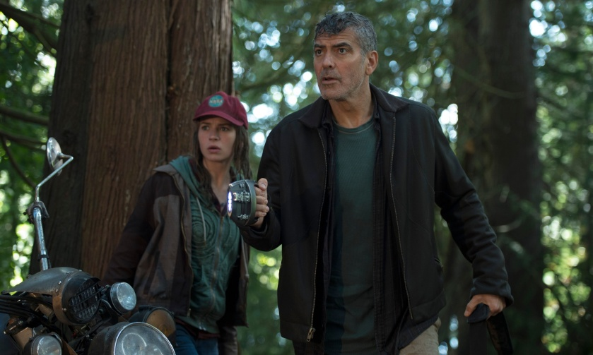 Disney's TOMORROWLAND  L to R: Casey (Britt Robertson) and Frank (George Clooney)  Ph: Kimberley French  ©Disney 2015