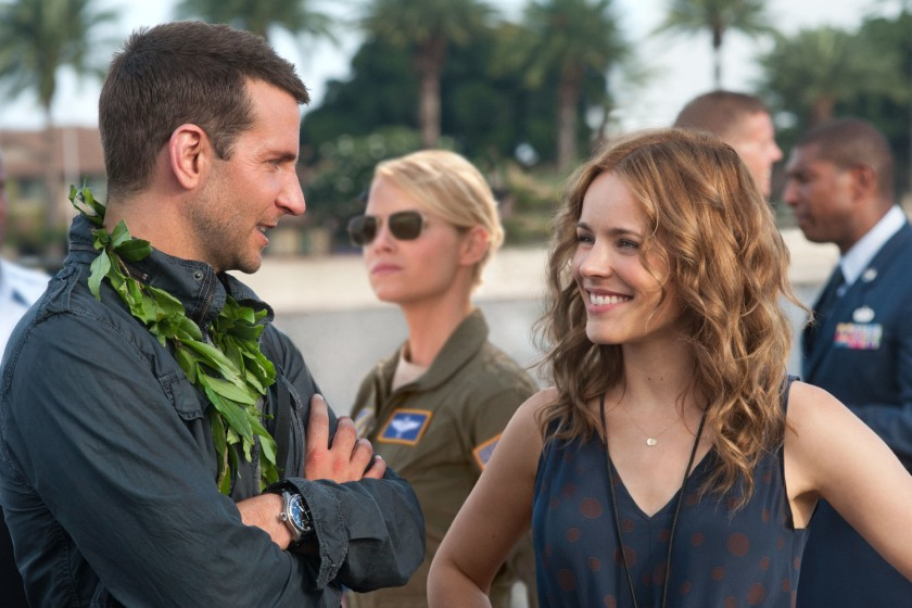 """FILM STILL DO NOT PURGE -    L-r, Bradley Cooper, Emma Stone and Rachel McAdams star in Columbia Pictures' """"Aloha."""""""
