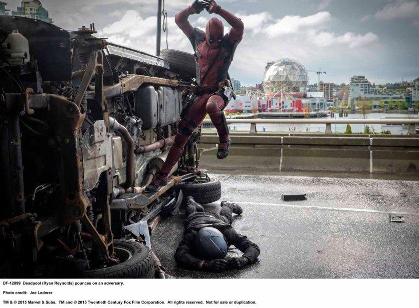 DEADPOOL Deadpool (Ryan Reynolds) pounces on an adversary. Photo Credit: Joe Lederer TM & © 2015 Marvel & Subs. TM and © 2015 Twentieth Century Fox Film Corporation. All rights reserved. Not for sale or duplication.