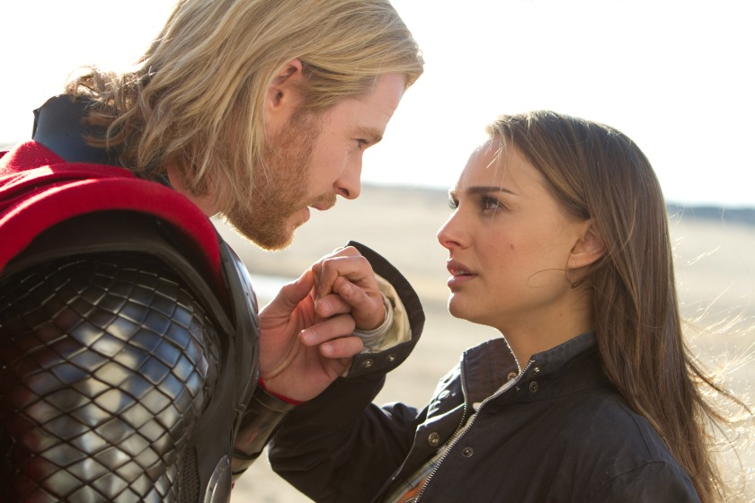 Photo credit: Zade Rosenthal / Marvel Studios Left to right: Thor (Chris Hemsworth) and Jane Foster (Natalie Portman) in THOR, from Paramount Pictures and Marvel Entertainment.