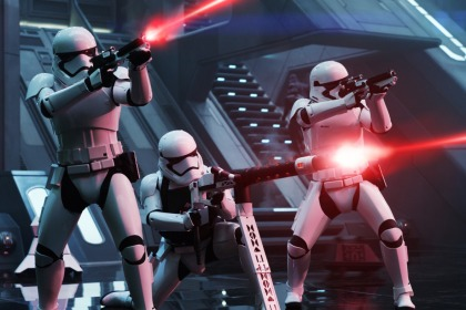 Star Wars: The Force Awakens..First Order Troopers..Ph: David James..© 2015 Lucasfilm Ltd. & TM. All Right Reserved.